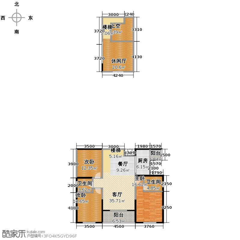 置信国色天乡鹭湖宫5号社区143.76㎡2011年4月在售F跃层户型3室3厅2卫