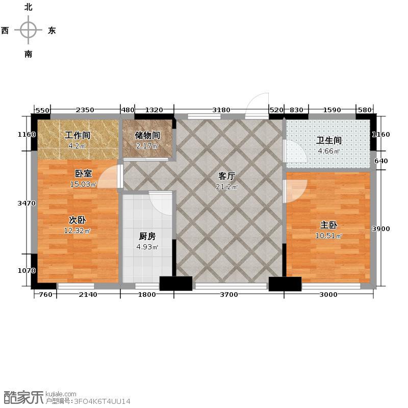 广泽紫晶城64.98㎡紫晶城淘金时代户型2室2厅1卫