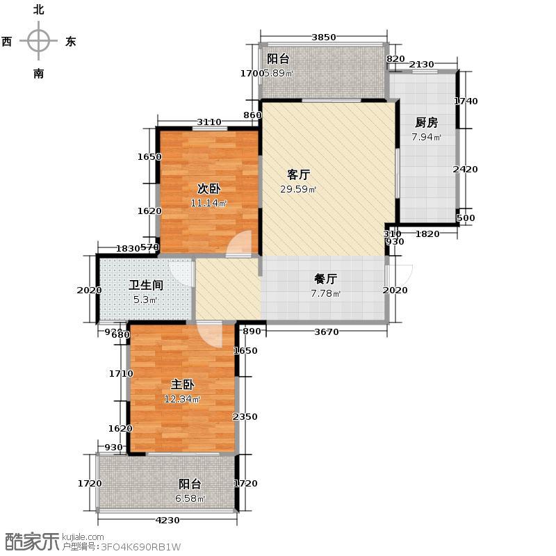 阳光100大湖第93.00㎡2期4号楼M户型2室2厅1卫