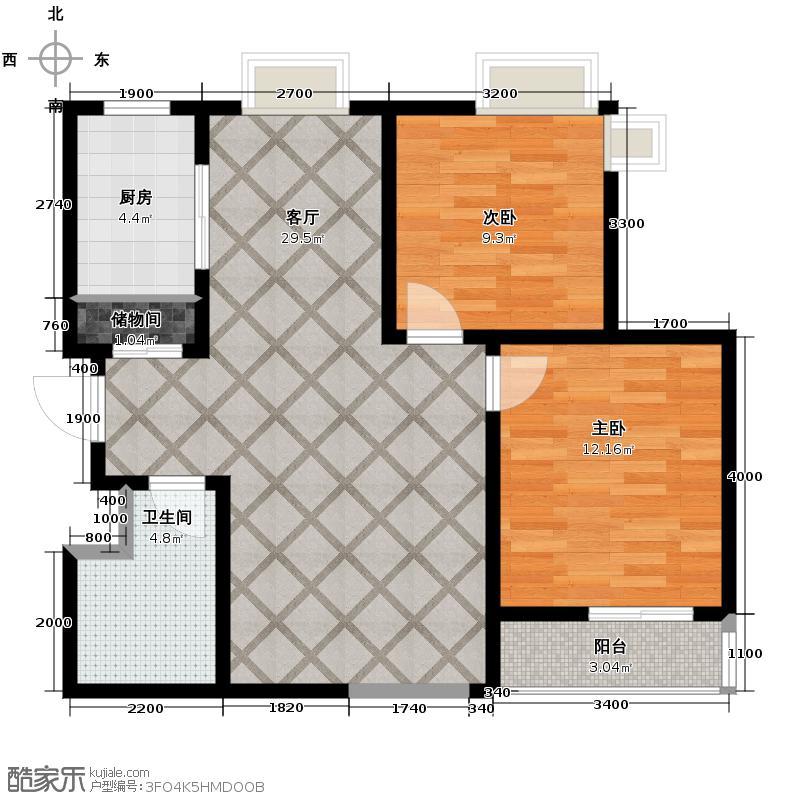 领先尊域95.63㎡-户型2室1厅1卫1厨