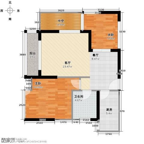 金辉苹果城2室1厅1卫1厨62.94㎡户型图