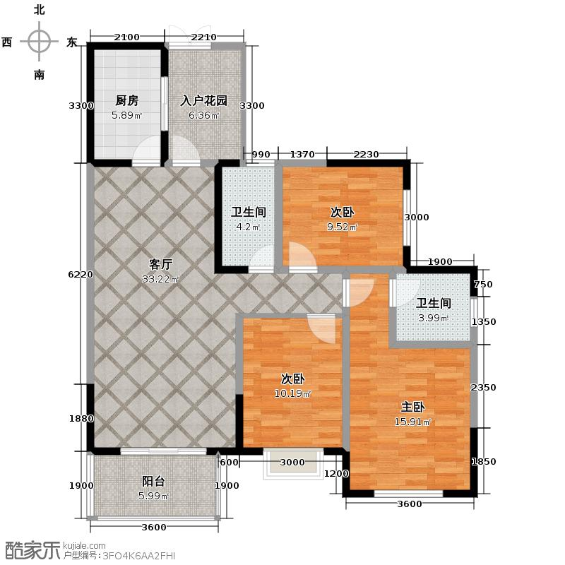 西城鸥鹭湾113.37㎡一期A4标准层户型3室2厅2卫