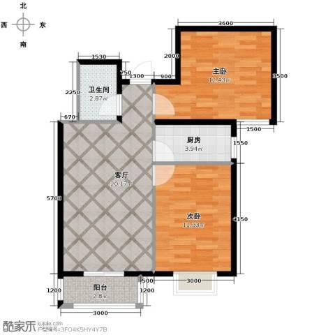 学院1号2室2厅1卫0厨75.00㎡户型图