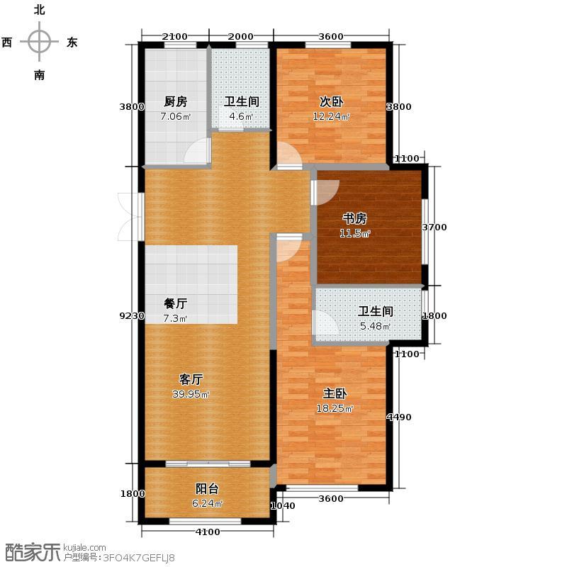 新湖庐山国际142.00㎡G1三居室户型3室2厅2卫