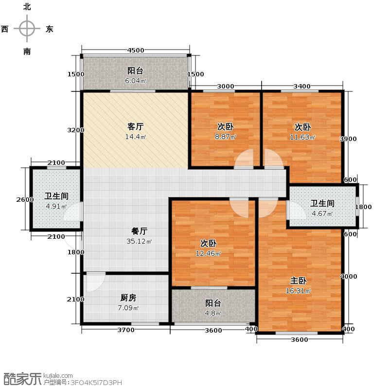 锦湖金利花园125.00㎡四期D7户型4室1厅2卫1厨