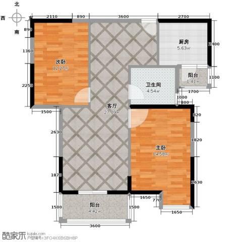 金地雄楚1号2室2厅1卫0厨90.00㎡户型图