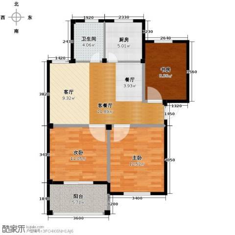 东海明园3室2厅1卫0厨83.00㎡户型图