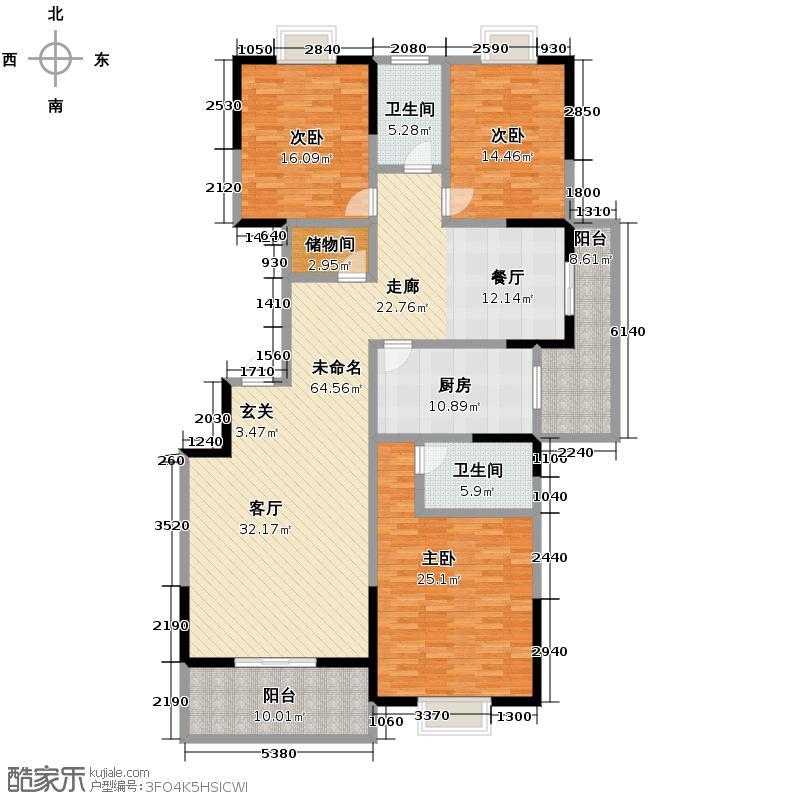 九锦台147.04㎡M户型3室2厅2卫