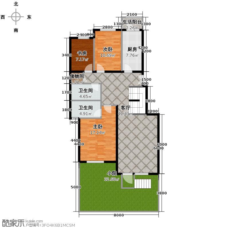 北京奥林匹克花园120.82㎡B2-XY4上层户型10室