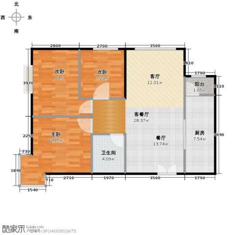 北京华贸城3室2厅1卫0厨96.00㎡户型图