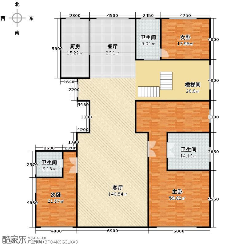 西山壹号院642.00㎡三期C2一层户型3室2厅3卫