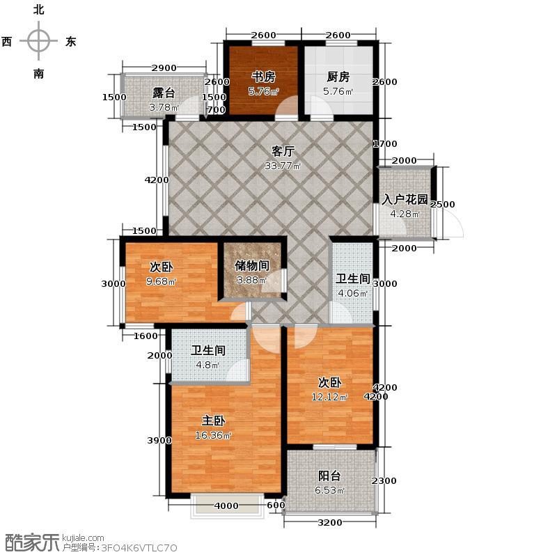 翰林世家143.93㎡2号楼C1偶数户型4室2厅2卫