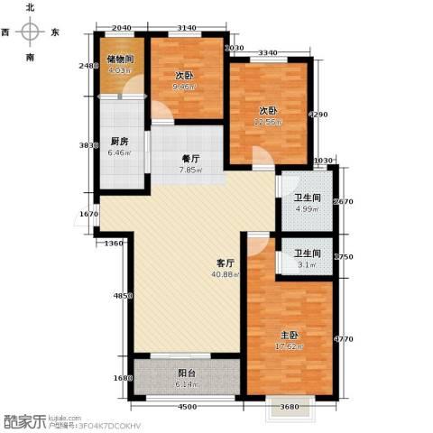 隆基新谊城3室2厅2卫0厨129.00㎡户型图