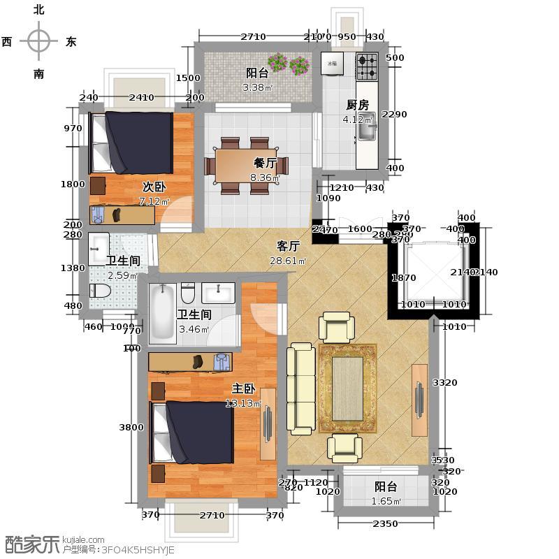 和泓四季80.00㎡一期洋房13栋A型5F标准层户型2室2厅2卫