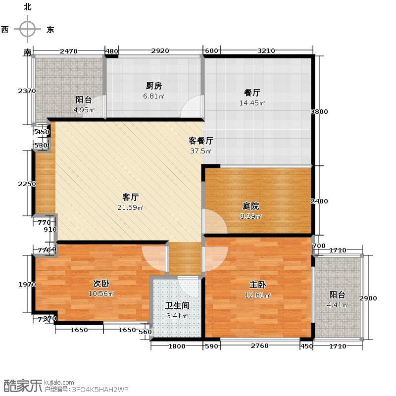 光华国际94.06㎡A-1标准层户型2室1厅1卫1厨