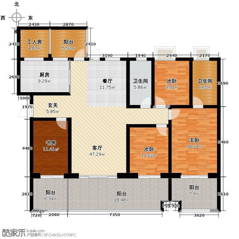 龙湖世纪峰景175.00㎡A型户型3室2厅2卫