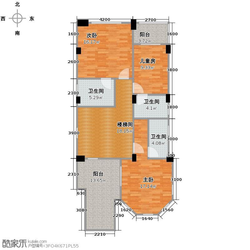 清河湾100.41㎡C2二层平面图户型10室