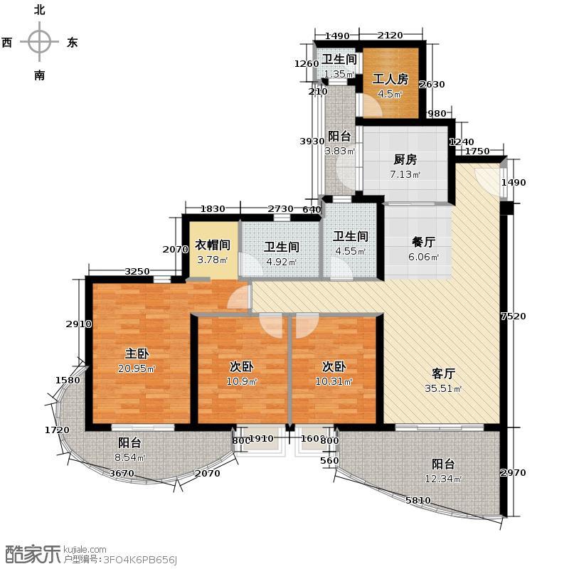 龙湖世纪峰景159.00㎡户型3室2厅2卫