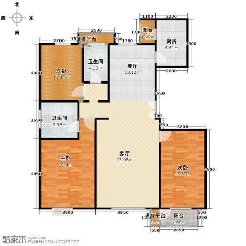 亿利城文澜雅筑3室2厅2卫0厨154.00㎡户型图
