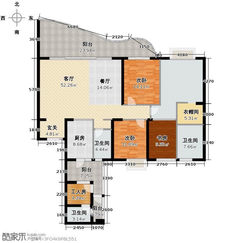 龙湖世纪峰景174.00㎡B2户型3室2厅2卫