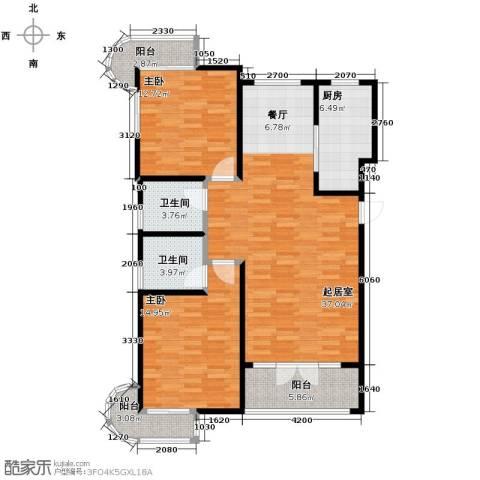 经纬城市绿洲滨海2室2厅2卫0厨120.00㎡户型图