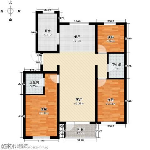 首创红树湾3室2厅2卫0厨133.00㎡户型图