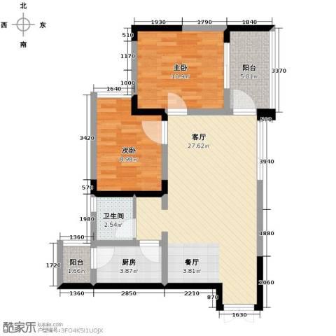 华宇・秋水长天2室1厅1卫1厨64.00㎡户型图