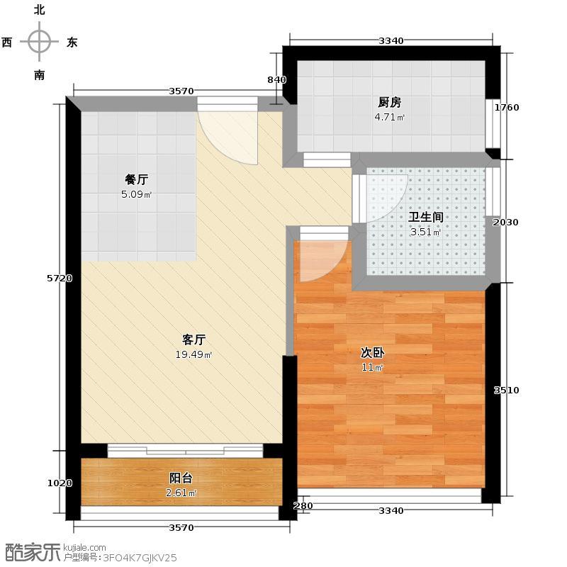 佳润上品菁园48.00㎡户型1室2厅1卫