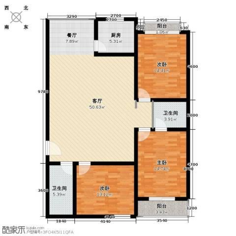 景泰花苑3室1厅2卫1厨150.00㎡户型图
