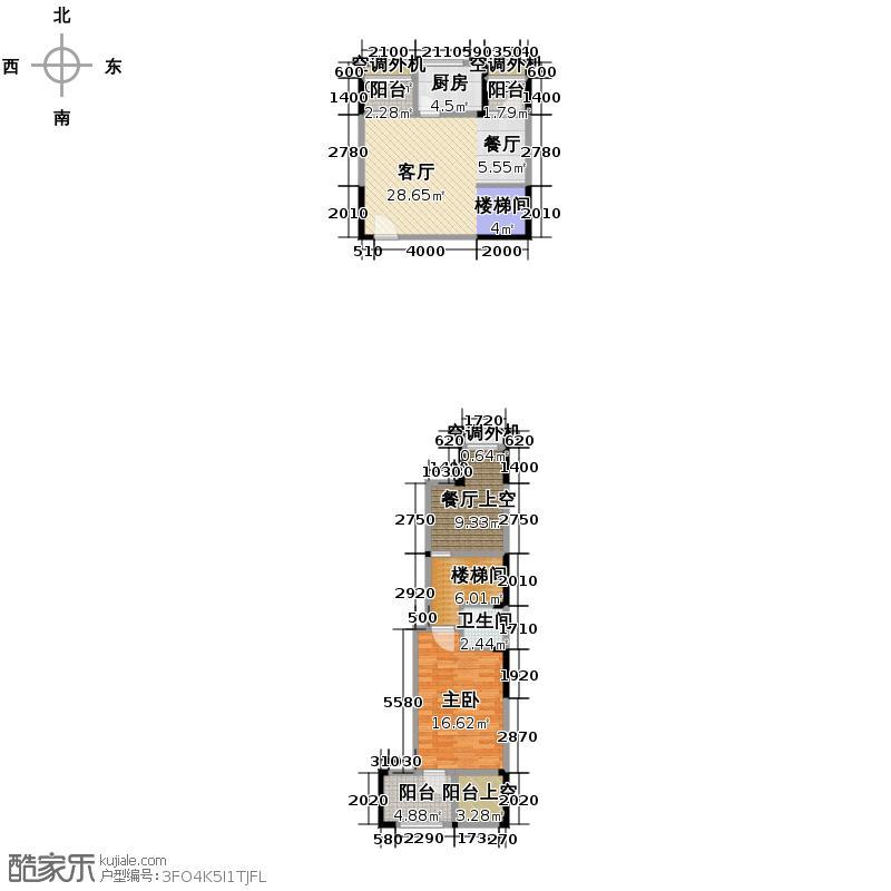 华宇金沙时代70.19㎡13号楼15号房户型1室1厅1卫1厨