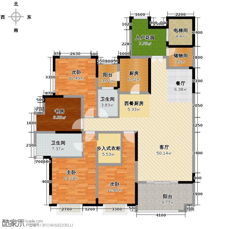 国兴北岸江山170.76㎡一期A栋6号标准层户型10室