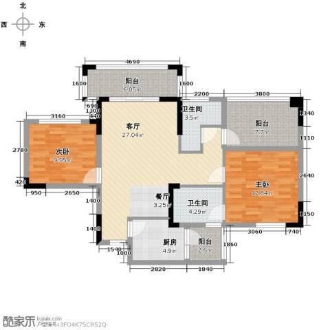 知汇华庭2室2厅2卫0厨101.00㎡户型图