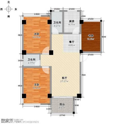 锦绣嘉园3室1厅2卫1厨111.00㎡户型图