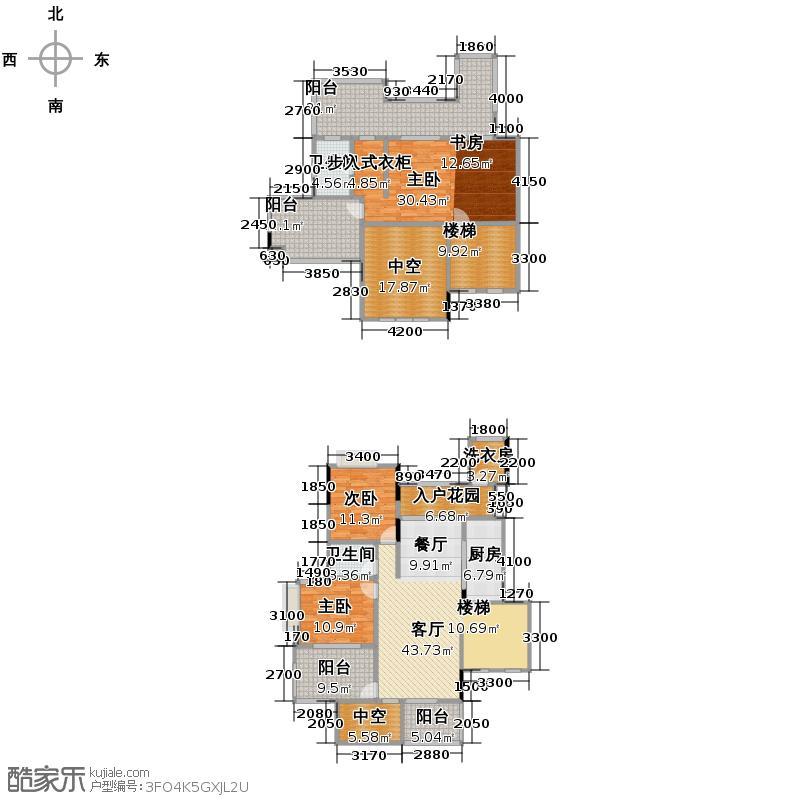 斌鑫中央国际公园144.43㎡一期2-7号楼跃层户型3室2厅2卫