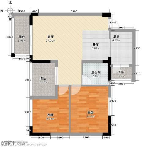 知汇华庭2室2厅1卫0厨86.00㎡户型图