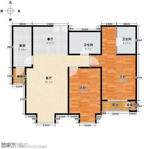 亿利城文澜雅筑2室2厅2卫0厨103.00㎡户型图