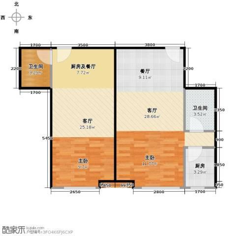 富苑盛世城2厅2卫1厨85.00㎡户型图