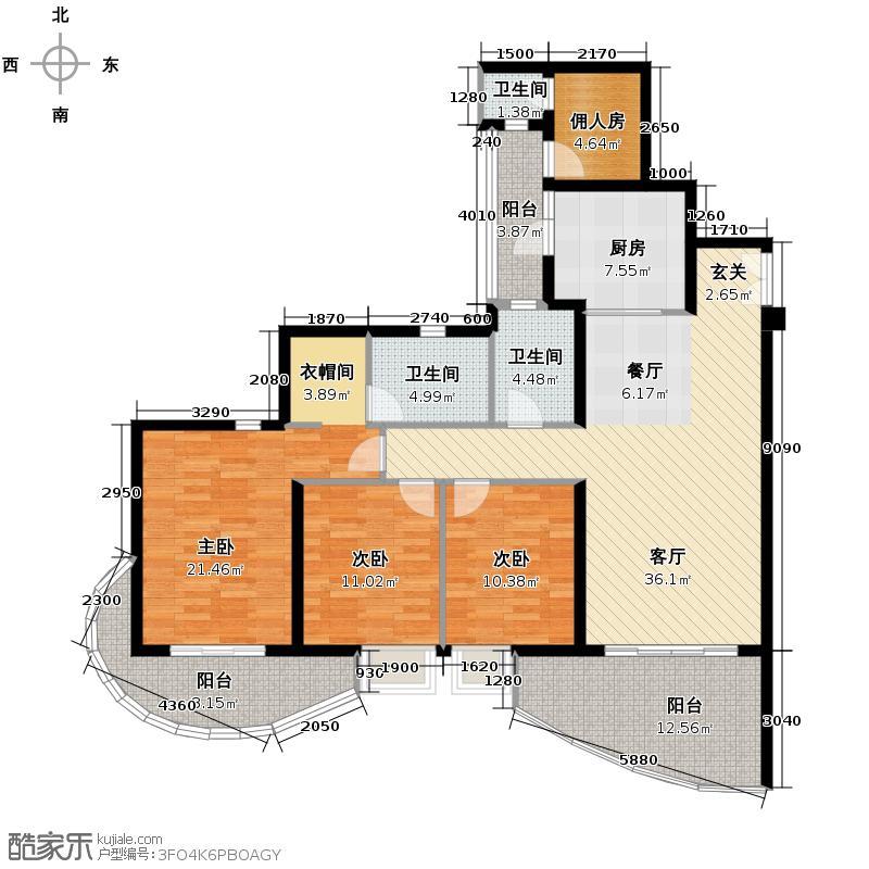 龙湖世纪峰景130.00㎡B3户型3室2厅3卫