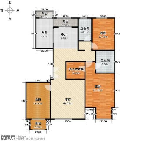 亿利城文澜雅筑3室2厅2卫0厨157.00㎡户型图