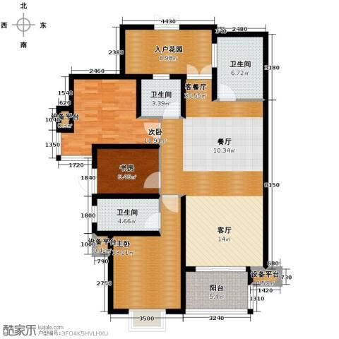 铭城16号3室1厅3卫0厨134.00㎡户型图