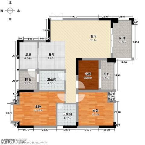 知汇华庭3室2厅2卫0厨114.00㎡户型图