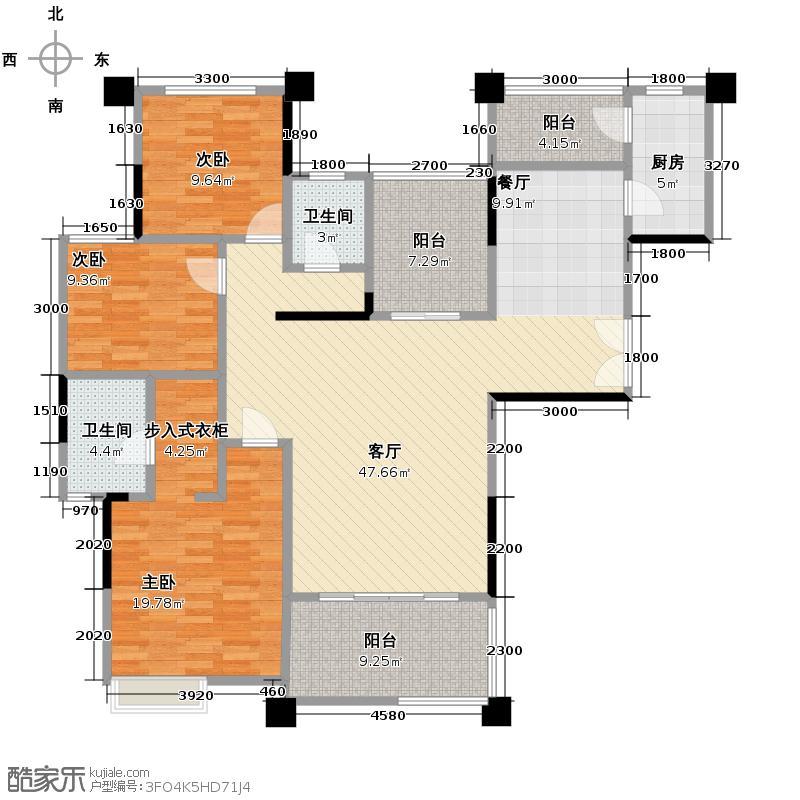 金科公园王府大户人家158.38㎡B11、2号房户型4室2厅2卫
