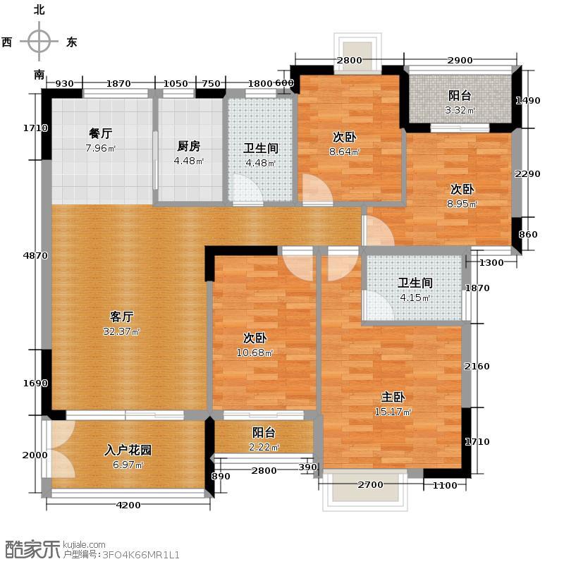 睿山115.23㎡B栋02单位户型4室1厅2卫1厨