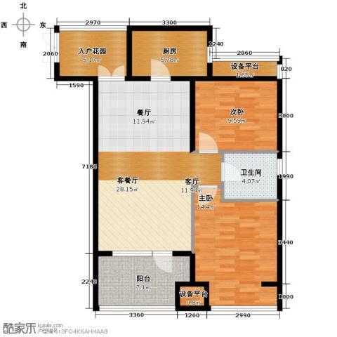 永泰枕流GOLF公寓2室2厅1卫0厨96.00㎡户型图