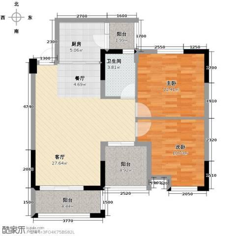 知汇华庭2室2厅1卫0厨85.00㎡户型图