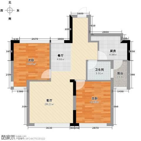 知汇华庭2室2厅1卫0厨80.00㎡户型图