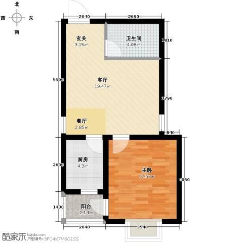 滨湖国际1室1厅1卫0厨61.00㎡户型图