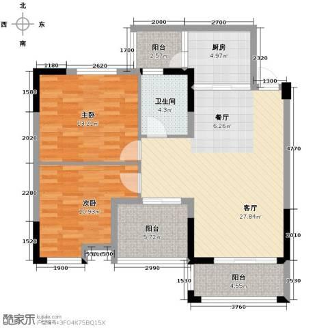 知汇华庭2室2厅1卫0厨89.00㎡户型图