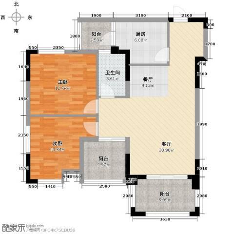 知汇华庭2室2厅1卫0厨94.00㎡户型图