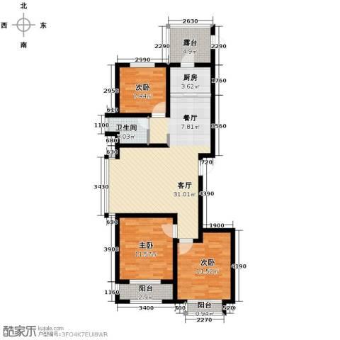 公园里3室2厅1卫0厨98.00㎡户型图